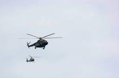 Вертолет во время военного парада Стоковое Изображение