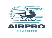 Вертолет летания, эмблема логотипа, светлая предпосылка Стоковое фото RF