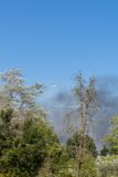 Вертолет падает вода на мобилизации местных сил Стоковое фото RF