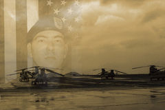 Вертолет солдата и чинука Стоковое Изображение RF