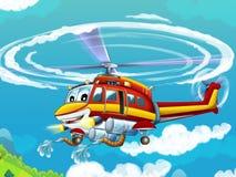 Вертолет шаржа - иллюстрация для детей Стоковые Изображения RF