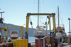 Верфь корабля, промышленный порт Стоковые Изображения