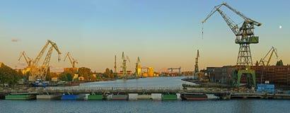 верфь панорамы gdansk стоковое изображение rf