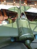 Верхнее Pyshma, Россия - 2-ое июля 2016: Советская истребительная авиация I-16 - экспонат музея воинского оборудования стоковое изображение rf
