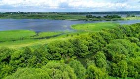 Верхнее viev пруда в центральном районе в России стоковая фотография