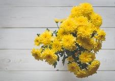 верхнее wiev хризантемы на белых досках Стоковая Фотография RF