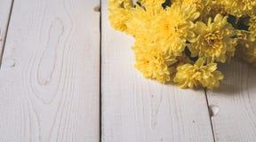 верхнее wiev хризантемы на белых досках Стоковое Фото