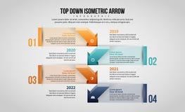 Верхней части стрелка Infographic вниз равновеликая Стоковые Фотографии RF