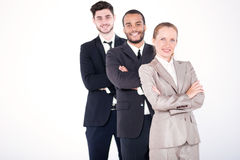 Верхние бизнесмены 3 успешное и усмехаясь standi бизнесменов Стоковые Изображения RF