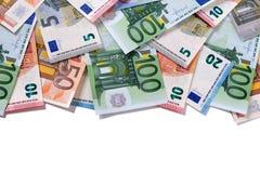 Верхние деньги евро границы замечают космос экземпляра Стоковое фото RF