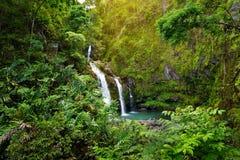 Верхние падения Waikani также известные как 3 медведя, трио больших водопадов между утесами & пышная растительность с популярным  Стоковое Изображение
