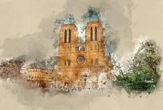 Верхние привлекательности в Париже - известном соборе Нотр-Дам стоковые фото