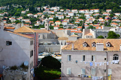 Верхний взгляд домов старый городок Дубровника, Хорватии Стоковые Фотографии RF