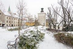 Верхний городок Загреба под снегом 2854 зимы стоковые изображения rf