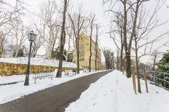 Верхний городок Загреба под снегом 2880 зимы стоковые изображения