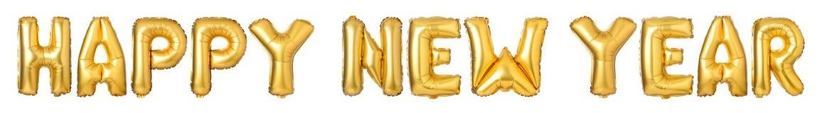 верхний - письма случая С НОВЫМ ГОДОМ! от золотых воздушных шаров стоковое фото