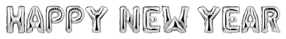 верхний - письма случая С НОВЫМ ГОДОМ! от серебряных воздушных шаров иллюстрация вектора