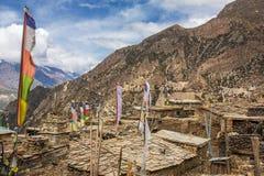 Верхняя деревня Pisang на треке цепи Annapurna Стоковое Изображение