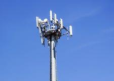 Верхняя часть башни связи сотового телефона с множественными антеннами против голубого неба Стоковые Фото