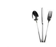 Верхняя часть взгляда ложки, ножа и вилки изолированных на белой предпосылке Стоковые Фото