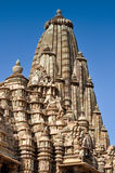 Верхняя часть виска Kandariya Mahadeva, Khajuraho, Индии, места ЮНЕСКО стоковое изображение