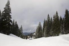 Верхняя часть горы с снегом Стоковая Фотография