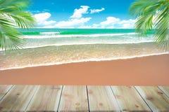 Верхняя часть деревянной таблицы с запачканной предпосылкой моря и кокосовой пальмы - стоковое изображение rf