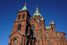 Верхняя часть собора Uspenski в Хельсинки стоковое изображение rf