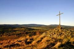 Верхняя часть холма восхода солнца перекрестная Стоковые Фотографии RF