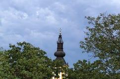 Верхняя часть церков между деревьями и небом от далеко Стоковые Изображения RF