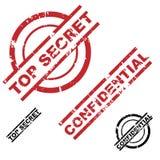 верхняя часть штемпеля конфиденциального секрета grunge установленная Стоковые Изображения RF