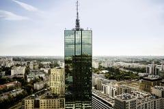 Верхняя часть skyscrapter и панорама города Стоковое Изображение