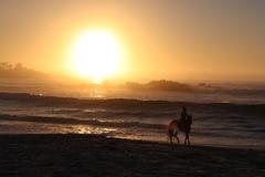 Верховая езда и заход солнца пляжа Стоковые Изображения