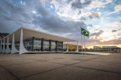 Верховный Суд Бразилии - трибунал Supremo федеральный - STF на заходе солнца - Brasilia, Distrito федеральном, Бразилии стоковые изображения