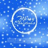 Веселая предпосылка Chtistmas с влиянием bokeh Предпосылка элегантного рождества голубая с снежинками и sparkles приветствие Стоковые Изображения