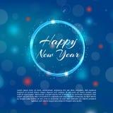 Веселая предпосылка Chtistmas с влиянием bokeh Предпосылка элегантного рождества голубая с снежинками и sparkles приветствие Стоковая Фотография RF