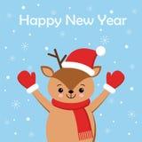 Веселая рождественская открытка с милая дорогой носящ шарф зимы r иллюстрация вектора