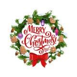 Веселое рождество, венок ели и печенья бесплатная иллюстрация