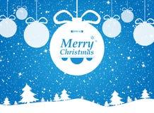 Веселое рождество голубой предпосылки в подарках леса и снегов бесплатная иллюстрация