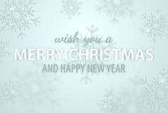 Веселое рождество и Новый Год типографские на предпосылке праздников со снежинкой яркого блеска, светлой звездой Иллюстрация вект стоковые фотографии rf