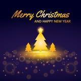 Веселое рождество и счастливая сосна Нового Года, вектор дизайна карты украшения праздника бесплатная иллюстрация