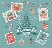 Веселое рождество и счастливая эмблема золота Нового Года бесплатная иллюстрация