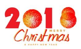 Веселое рождество 2018 и счастливое значок дизайна текста Нового Года 2019 приветствуя на белой предпосылке иллюстрация штока
