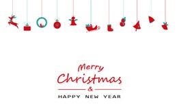 Веселое рождество и счастливый Новый Год, минимальный, винтажный, вися de иллюстрация штока