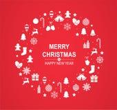 Веселое рождество и С Новым Годом! красная поздравительная открытка с белыми праздничными украшениями в форме круга иллюстрация штока