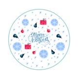Веселое рождество и С Новым Годом! обрамляет украшение со снежинками, природой и орнаментами праздника иллюстрация штока