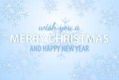 Веселое рождество и С Новым Годом! приветствовать иллюстрацию вектора с яркими блесками, сверкнают и накалять снежинки для плакат стоковое изображение rf