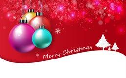 Веселое рождество, карта, текстура предпосылки приглашения плаката роскошная, красочные шарики рождества сияющие и дерево со снег иллюстрация вектора