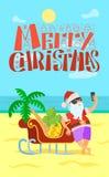 Веселое рождество, Санта Клаус, виноградина бананов саней бесплатная иллюстрация