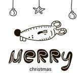 Веселое рождество со смешной мышью младенца мультфильма бесплатная иллюстрация